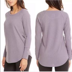 Chaser waffle knit long sleeve lavender top tunic